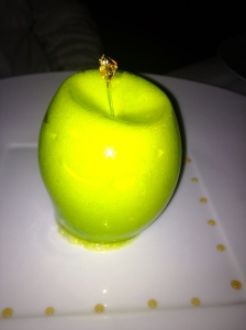 Impressive dessert at the main restaurant: apple, palet breton, ginger, salted caramel...Mmmhhh...