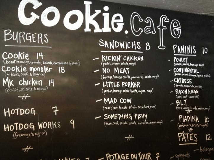 Cookie Cafe Menu