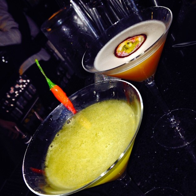 Passion fruit & Chili martinis
