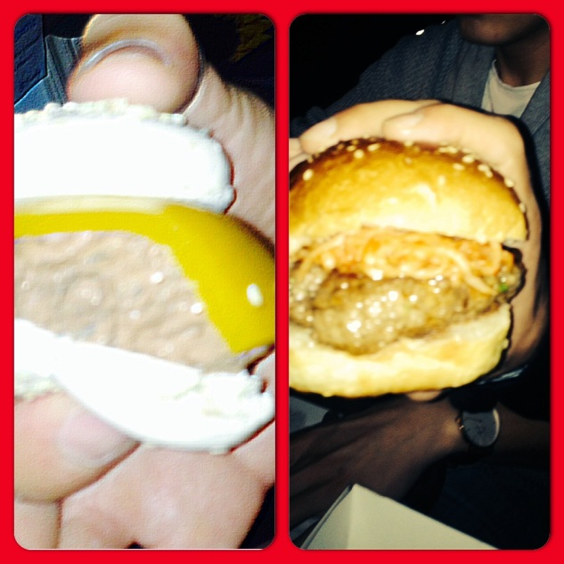 Macaron Choco & Passion fruit burger VS. Juicy cheesy meaty burger