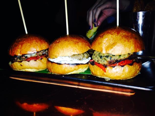 Selection of mini burgers: lamb, veggie and beef :)