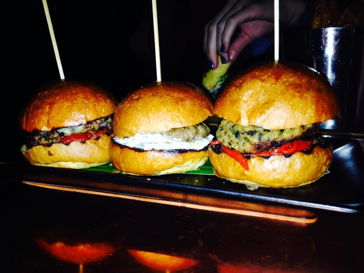 Selection of mini burgers: lamb, veggie and beef :)